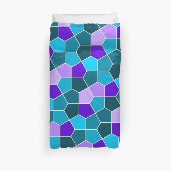 Cairo Pentagonal Tiles in Aqua and Purple Duvet Cover