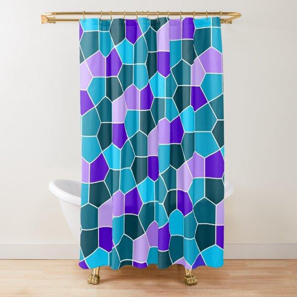 Cairo Pentagonal Tiles in Aqua and Purple Shower Curtain