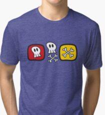 Cartoon Skulls and Bones Tri-blend T-Shirt