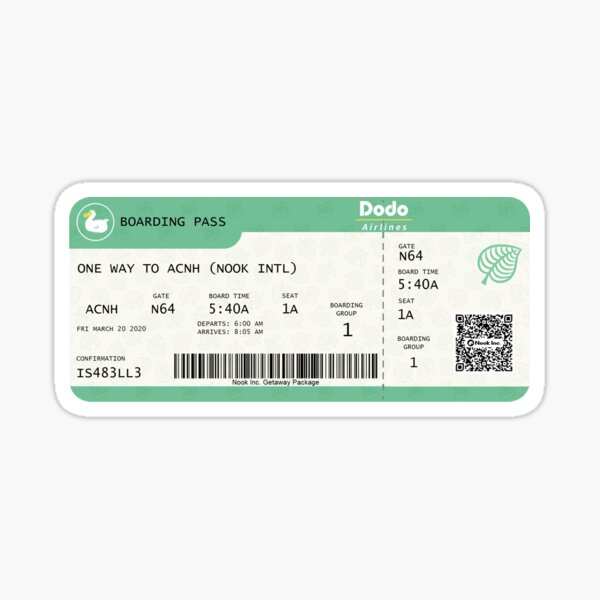 Animal Crossing Boarding Pass Sticker