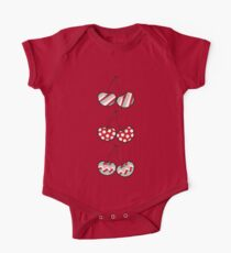 Summer Retro Pattern Cute Cheeky Cherries Trio One Piece - Short Sleeve
