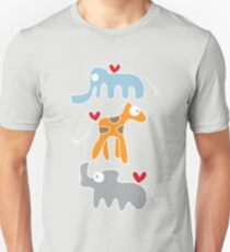 Cartoon Ellie, Giraffe & Rhino Trio T-Shirt