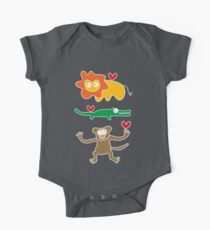 Cartoon Lion, Alligator & Chimpanzee Trio One Piece - Short Sleeve