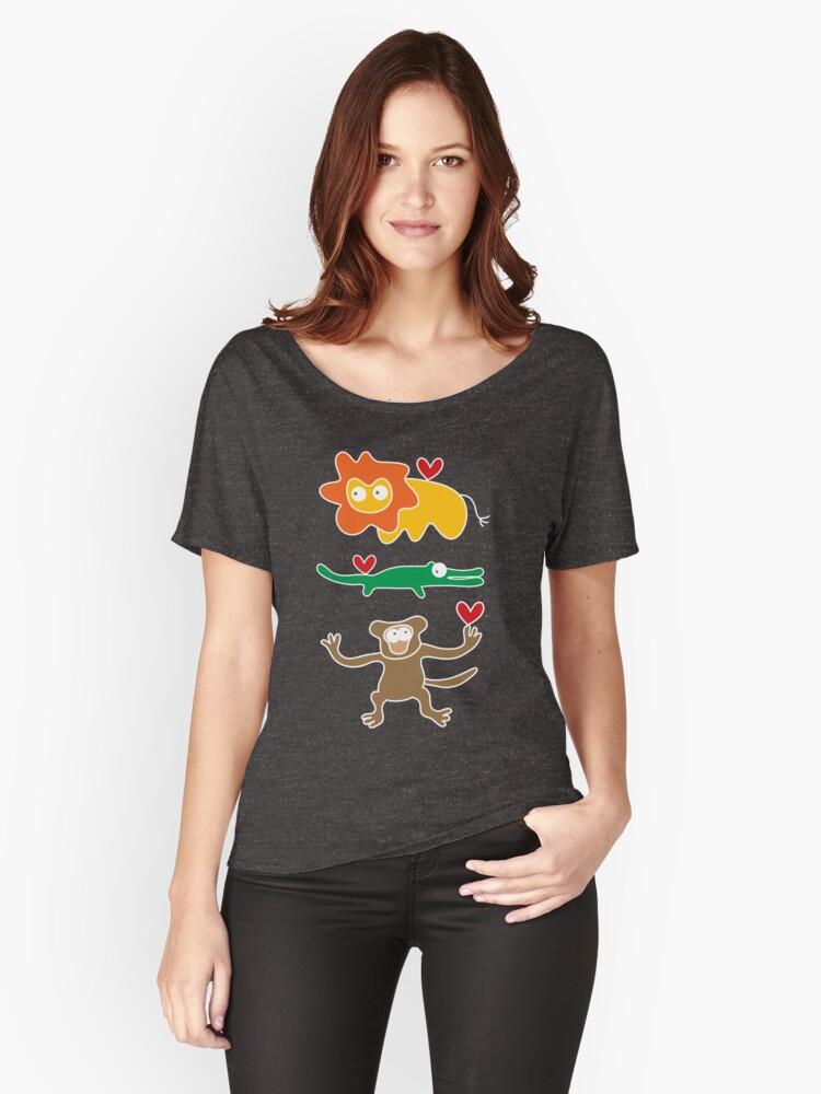 Cartoon Lion, Alligator & Chimpanzee Trio Women's Relaxed Fit T-Shirt Front