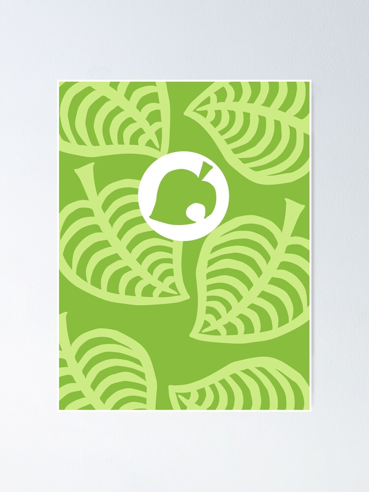 Nookphone Animal Crossing New Horizons Green Tropical Leaves Poster By Ryandoodles Redbubble
