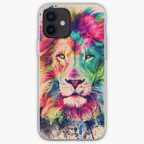 Löwen-Aquarell-Spritz-Porträt iPhone Flexible Hülle