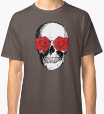Skull and Roses | Grey and Red Classic T-Shirt