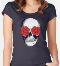 Skull and Roses | Grey and Red Women's Fitted Scoop T-Shirt