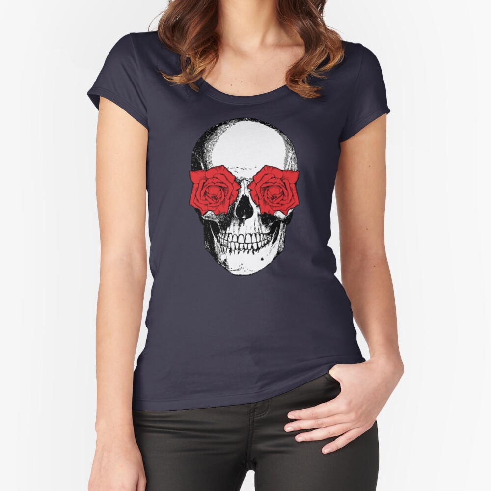 Skull and Roses | Skull and Flowers | Skulls and Skeletons | Vintage Skulls | Grey and Red |  Fitted Scoop T-Shirt