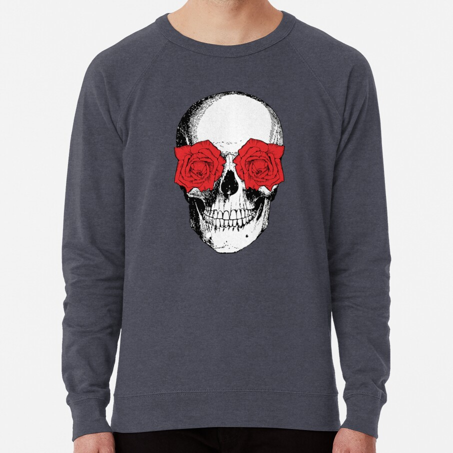 Skull and Roses | Skull and Flowers | Skulls and Skeletons | Vintage Skulls | Grey and Red |  Lightweight Sweatshirt