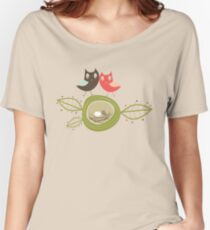 Whimsical Nesting Owl Family Women's Relaxed Fit T-Shirt