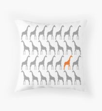One Orange Giraffe in the Herd Throw Pillow