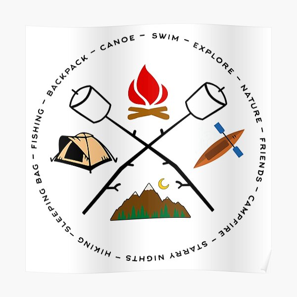 Campground Bonfire Marshmallow Rowboat Oar Lodge. Poster