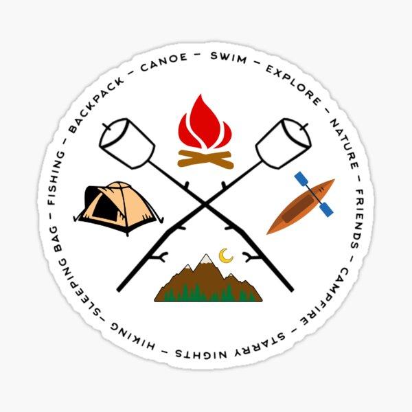 Campground Bonfire Marshmallow Rowboat Oar Lodge. Sticker
