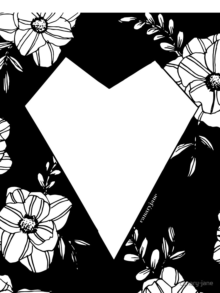 Geometric Heart on Florals by canary-jane