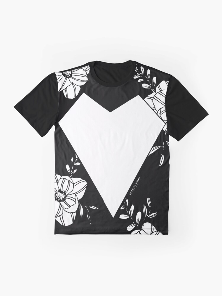 Alternate view of Geometric Heart on Florals Graphic T-Shirt