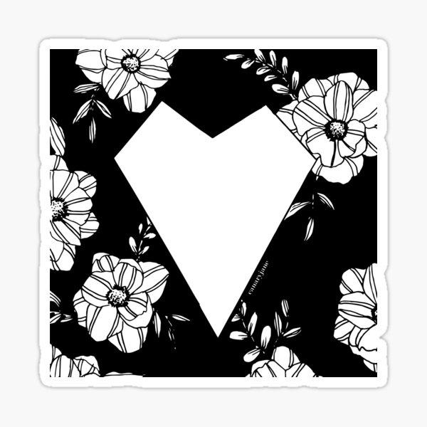 Geometric Heart on Florals Sticker