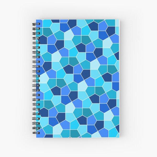 Cairo Pentagonal Tiles Cyan Blue Spiral Notebook