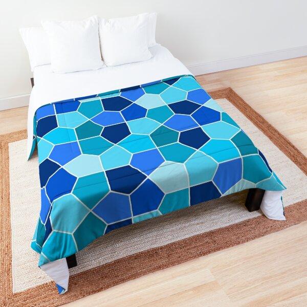 Cairo Pentagonal Tiles Cyan Blue Comforter