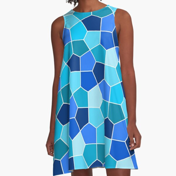Cairo Pentagonal Tiles Cyan Blue A-Line Dress