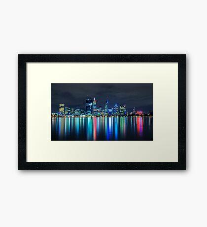 Perth City In Blue Framed Print