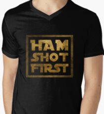 Ham Shot First - Gold Men's V-Neck T-Shirt