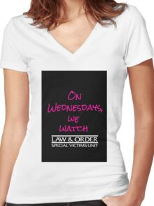 On Wednesdays, We Watch SVU. Women's Fitted V-Neck T-Shirt