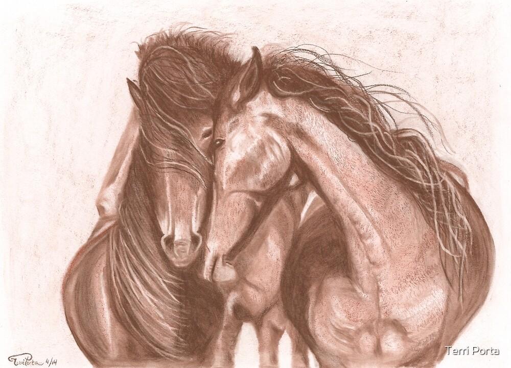 """Love"" Horses in Charcoal by Terri Porta"