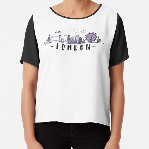 London Skyline. United Kingdom, Great Britain Hand Drawn Chiffon Top
