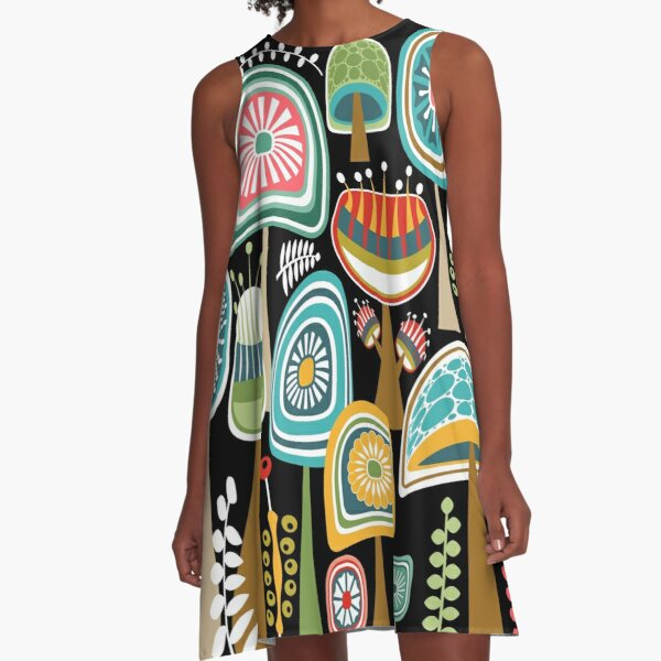 Colorful Mid Century Modern Mushrooms // Large Scale A-Line Dress
