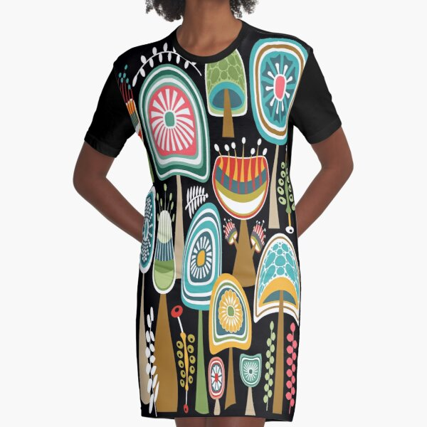 Colorful Mid Century Modern Mushrooms // Large Scale Graphic T-Shirt Dress