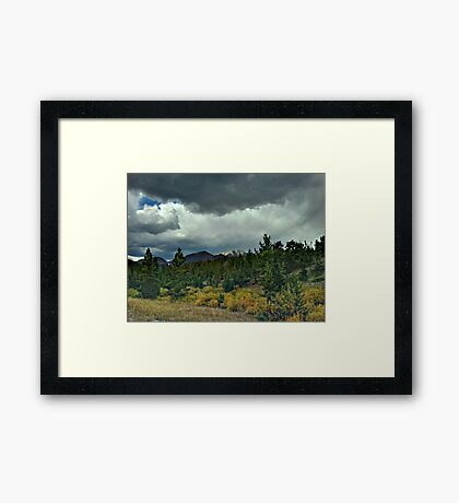 Sun Rays on Mountain Top Framed Print