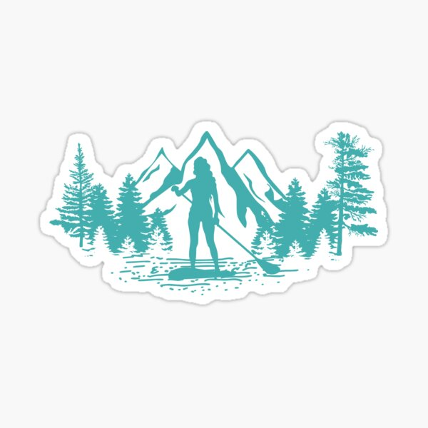 Paddle Boarding Girl on Lake and Mountains Scenery with Teal Tint Sticker