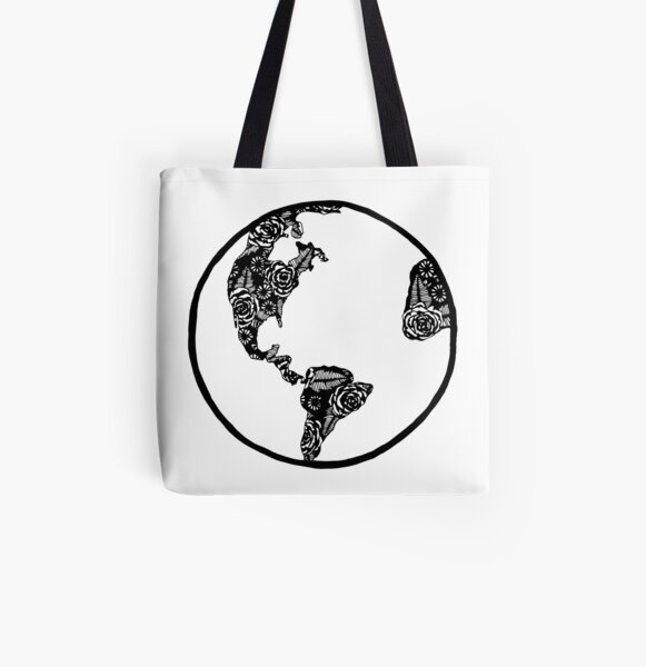 Earth in Florals All Over Print Tote Bag