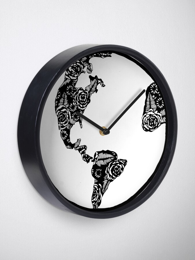 Alternate view of Earth in Florals Clock
