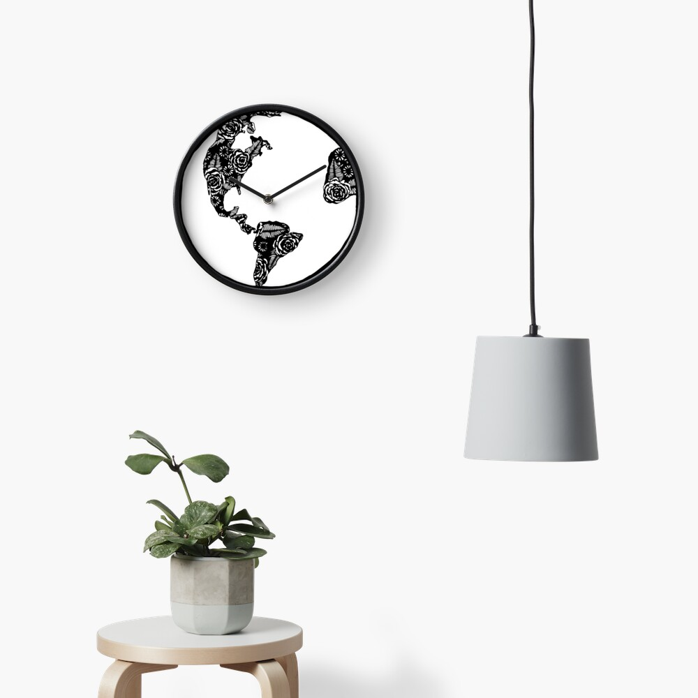 Earth in Florals Clock