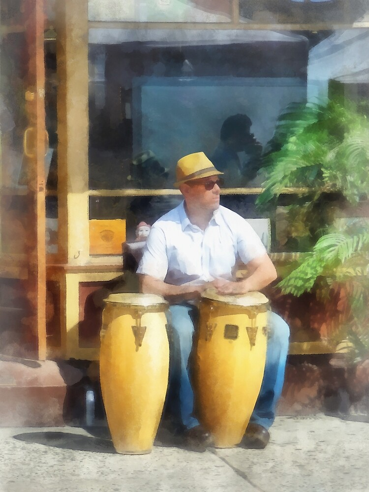 Musicians - Playing Bongo Drums by Susan Savad
