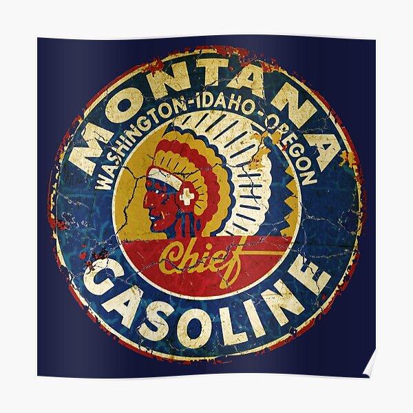 Vintage Montana gasoline USA Poster