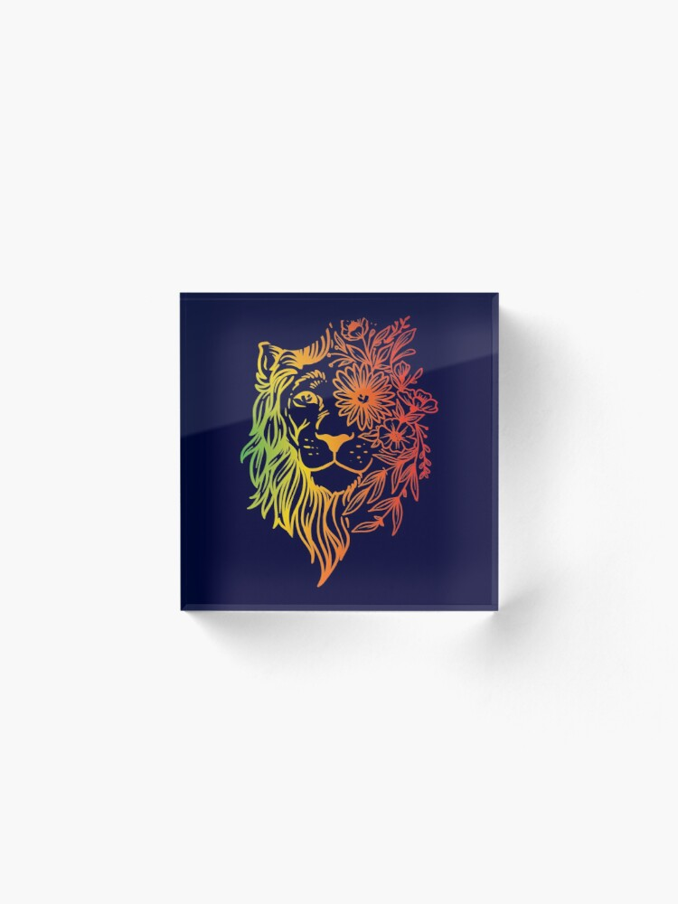 Alternate view of Floral lion head Acrylic Block