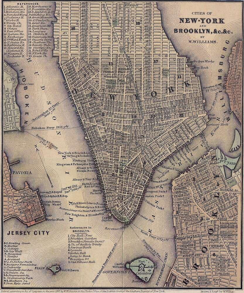 Vintage NYC and Brooklyn Map (1847) by BravuraMedia