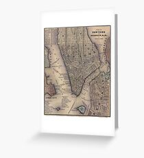Vintage NYC and Brooklyn Map (1847) Greeting Card