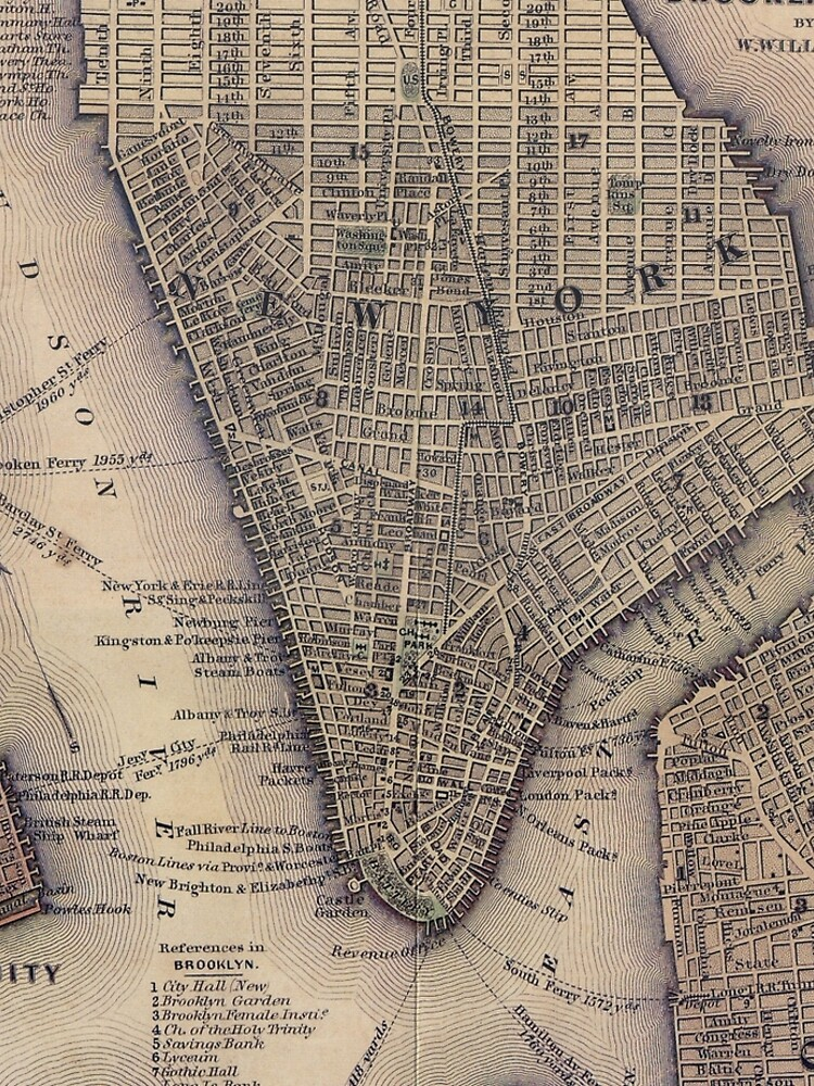 Vintage NYC and Brooklyn Map (1847) de BravuraMedia