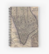 Cuaderno de espiral Vintage NYC and Brooklyn Map (1847)