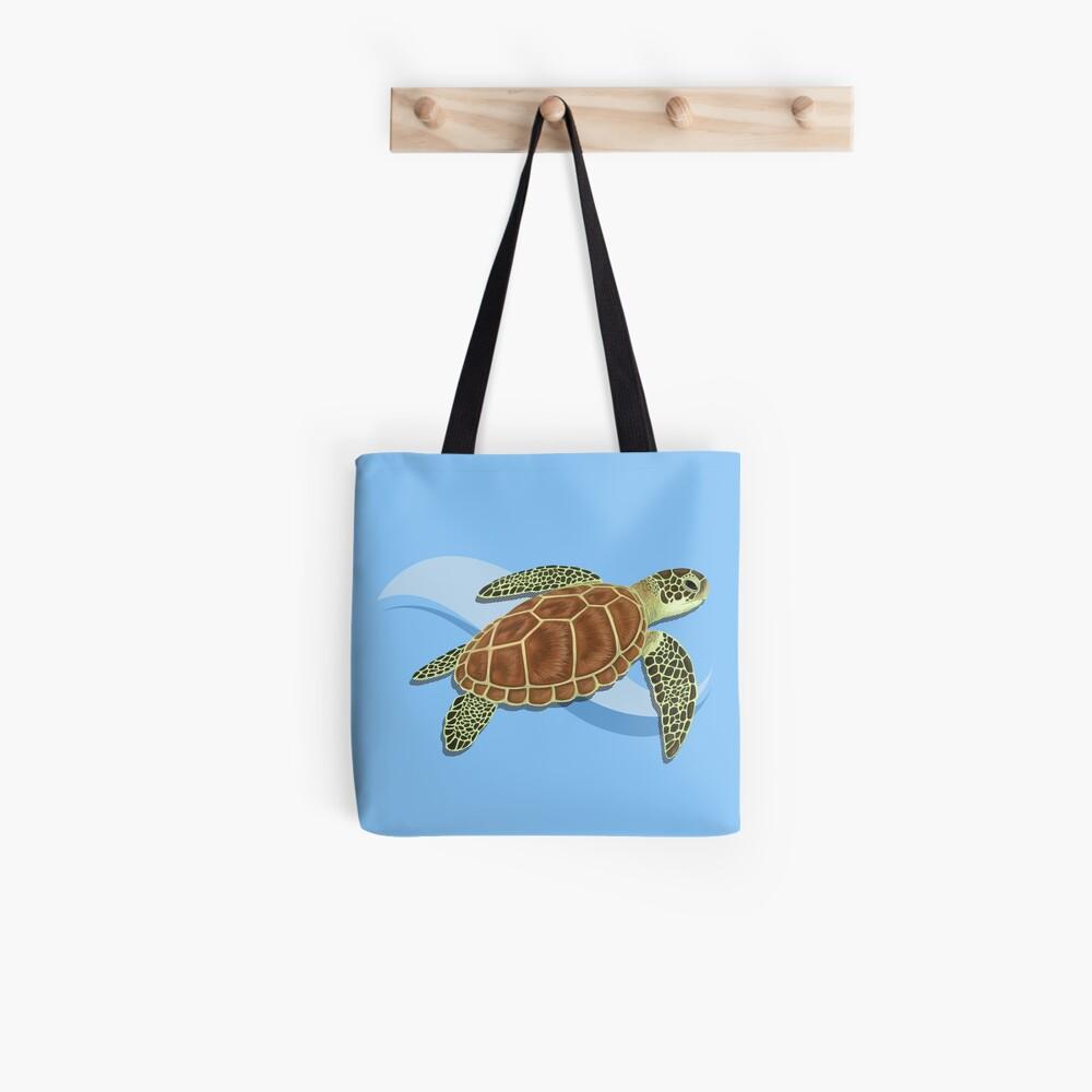Green Sea Turtle Splash Tote Bag