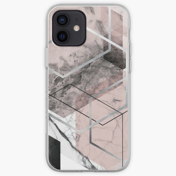 Geometric Hexagons in Blush Pink and Grey iPhone Soft Case