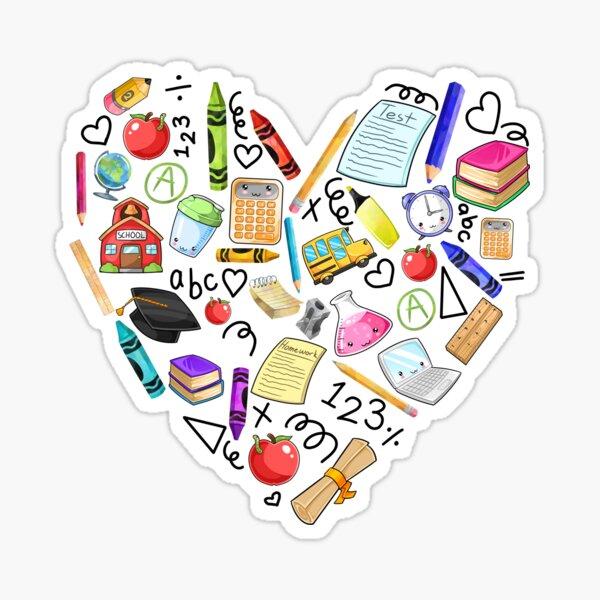 School Teacher Student Kawaii Heart Sticker