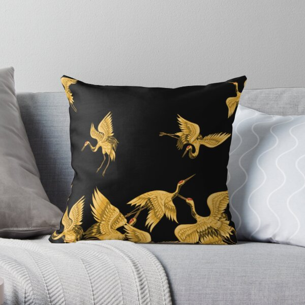 Golden Japanese Cranes Oriental Throw Pillow