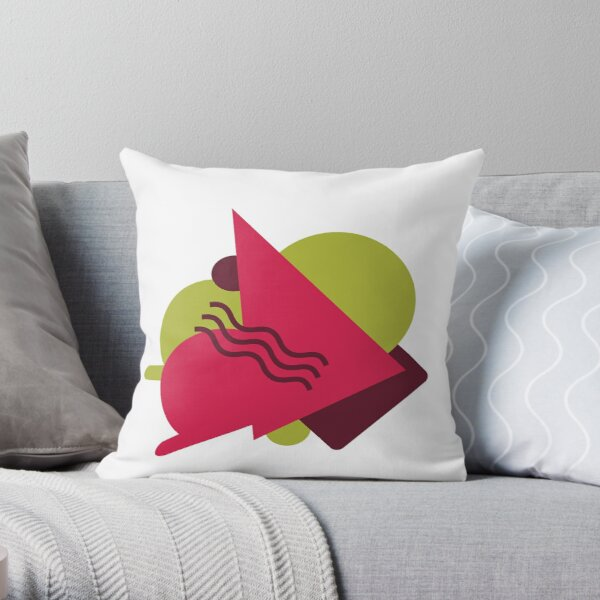 Green Pink Geo Style Throw Pillow
