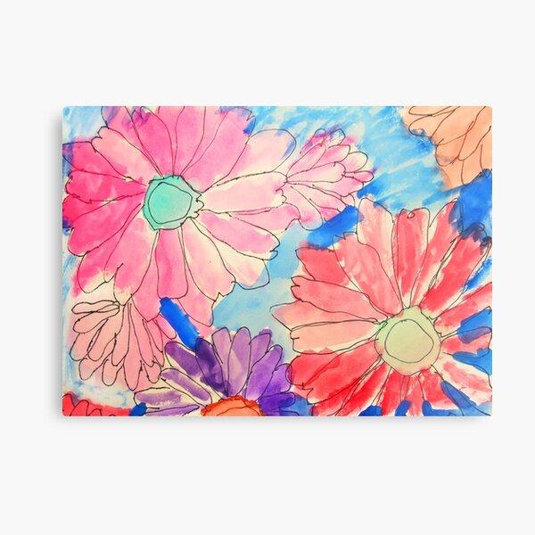 Rainbow Watercolor Flowers Metal Print