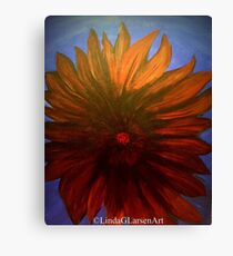 Red Flower Blue Sky by LindaGLarsen Canvas Print